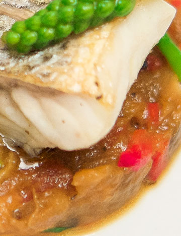 Roast sea bass and eggplant caviar
